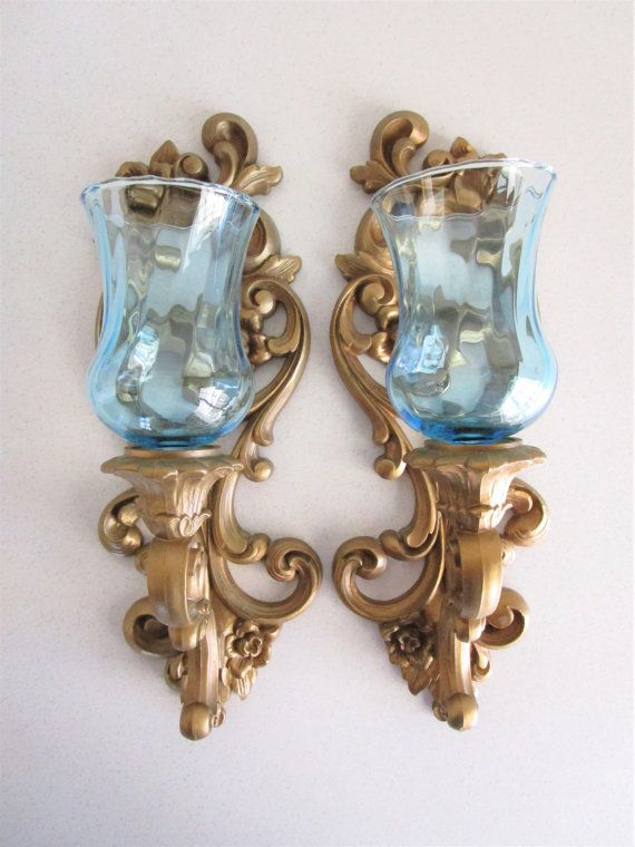 Gold Tone Candle Wall Sconces : Set of 2 Vintage Gold tone Hollywood Regency Style Wall Hanging Sconces with Blue Glass Globes ...