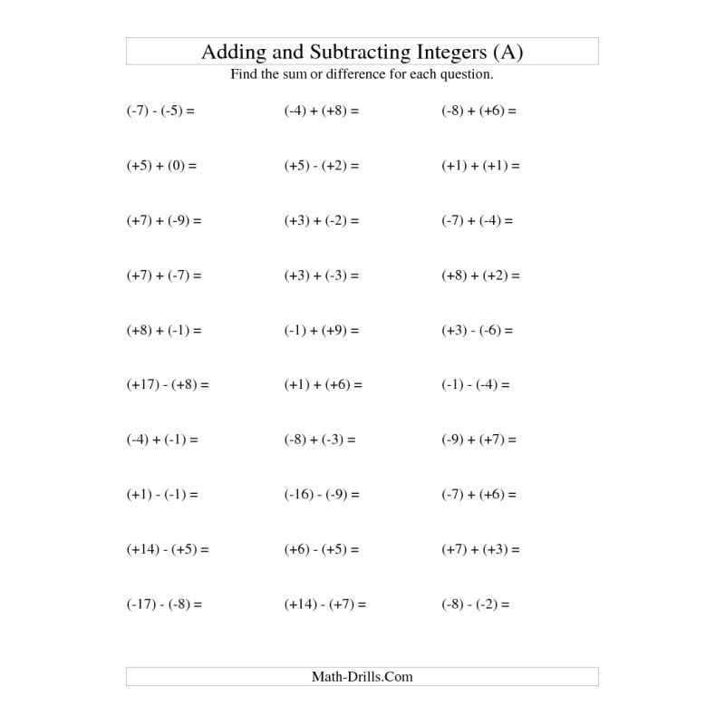 Free Math Worksheet -- Integer Addition and Subtraction with ...
