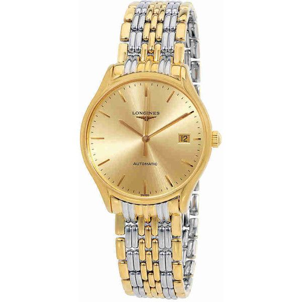 Longines La Grande Classique Presence Automatic Ladies Watch ($999) ❤ liked on Polyvore featuring jewelry, watches, stainless steel wrist watch, automatic movement watches, 2 tone watches, two-tone watches and two tone jewelry