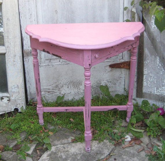 Superb Reserved Half Moon Table, Half Round Table, Pink Half Circle Table, Shabby Small  Table, Accent Table, Distressed Table
