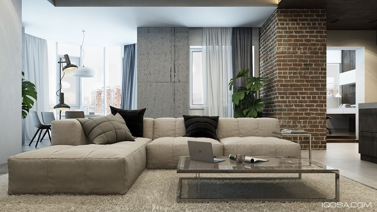 Entwerfen Sie eine schicke moderne Raum um einen Ziegelstein ...