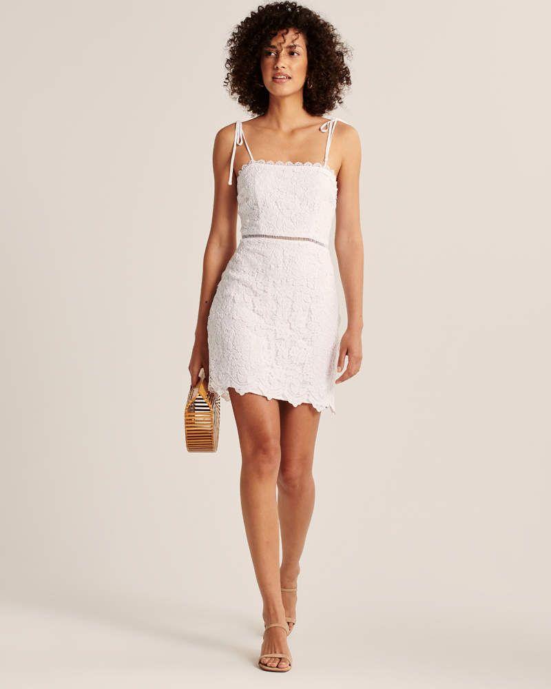 Women S Tie Strap Lace Dress Women S Dresses Jumpsuits Abercrombie Com Lace Dress Dresses Little White Dresses [ 1000 x 800 Pixel ]