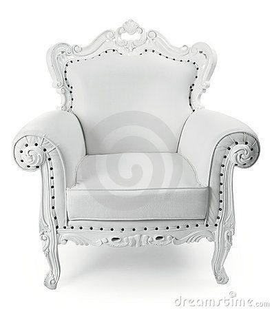 Barok Fauteuil Wit.White Leather Decorative Chair On White Background Dreamplace