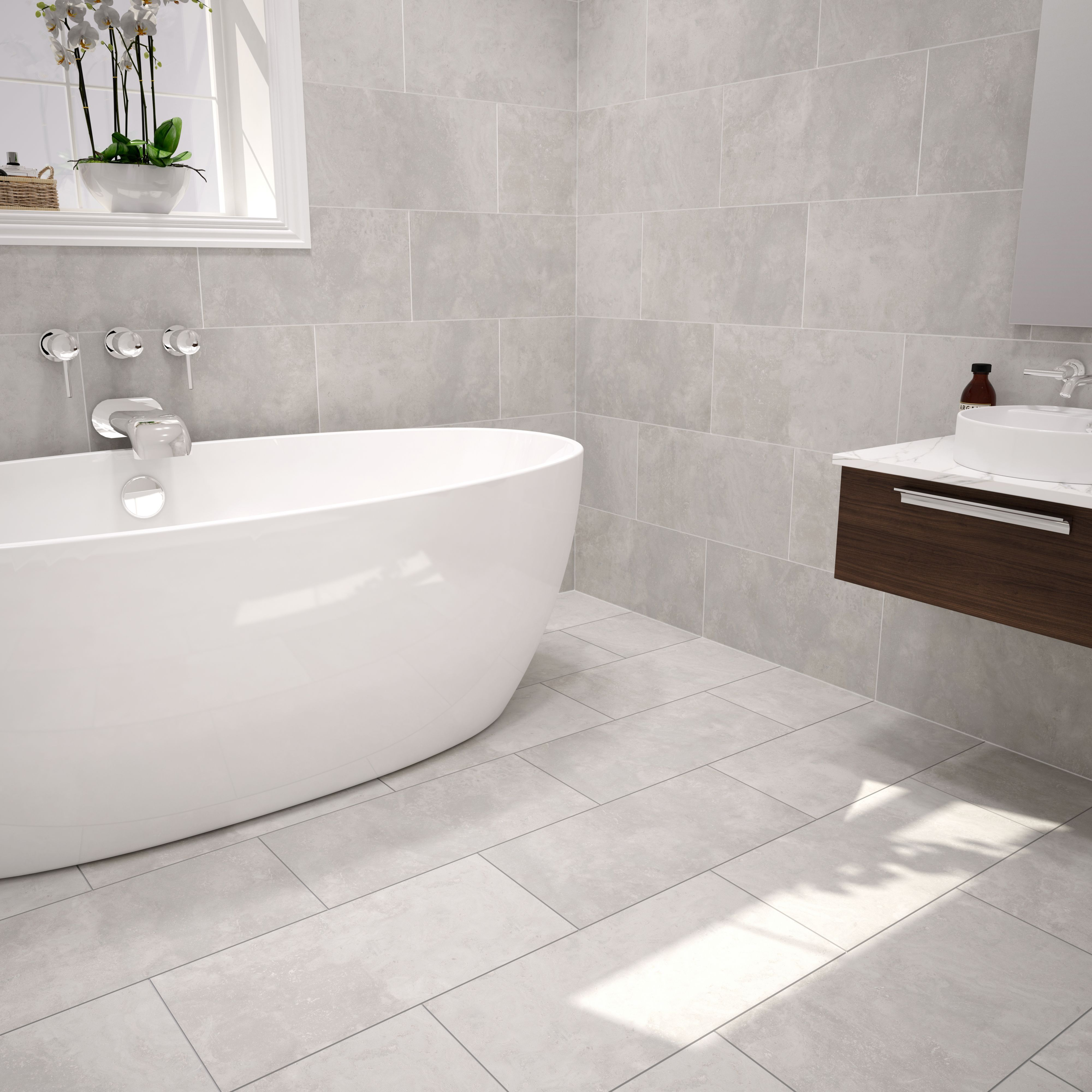 Grey Bathroom Floor Tiles Urban Cement Grey Stone Effect Ceramic Wall And Floor Tile