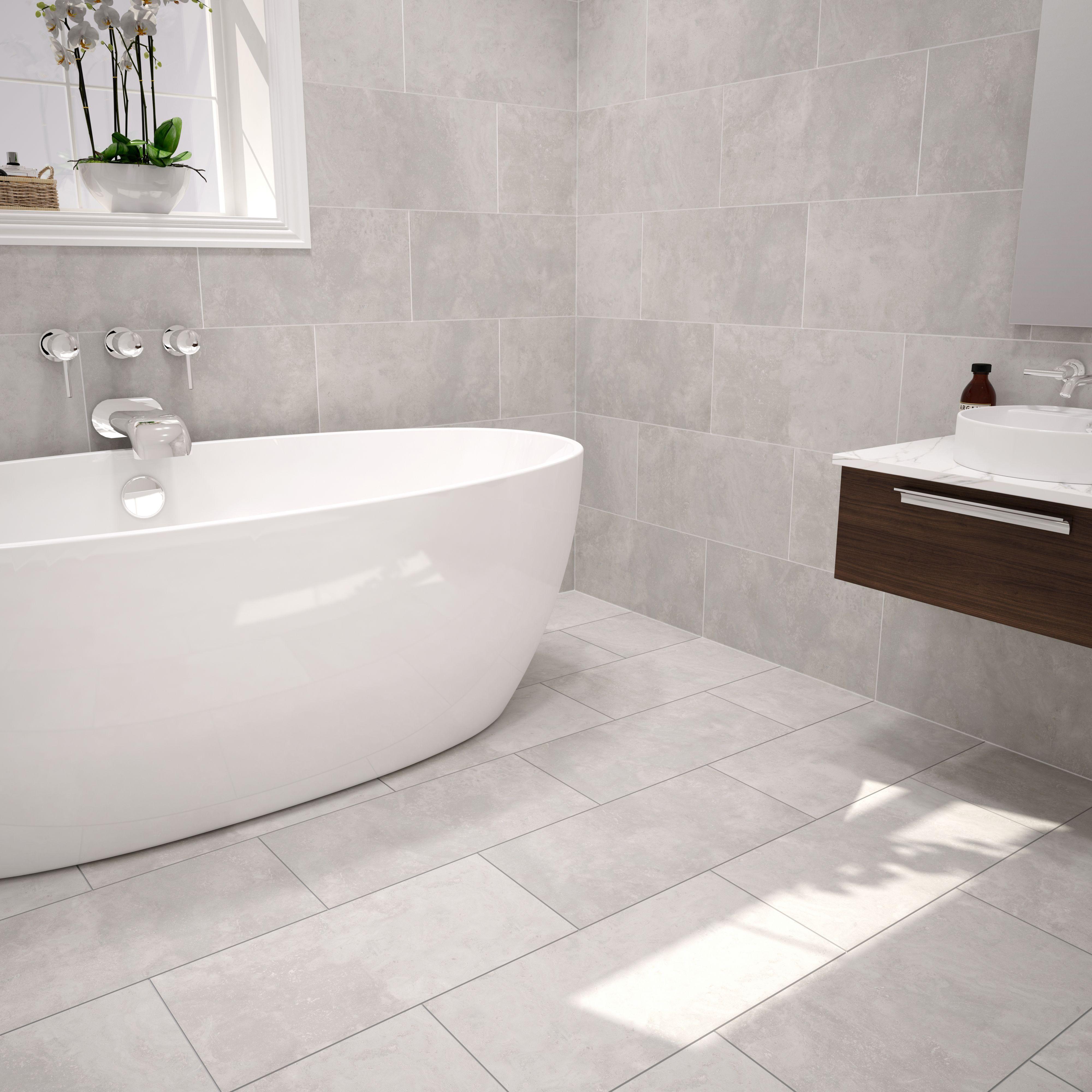 Urban Cement Grey Ceramic Wall & Floor Tile, Pack of 5, (L