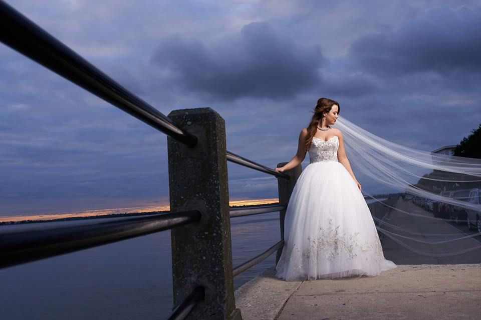 bridal portraits - long veil and ballgown - Casablanca 2077 - photography by Nicholas Gore Weddings http://charlestonsweddingphotographer.com/