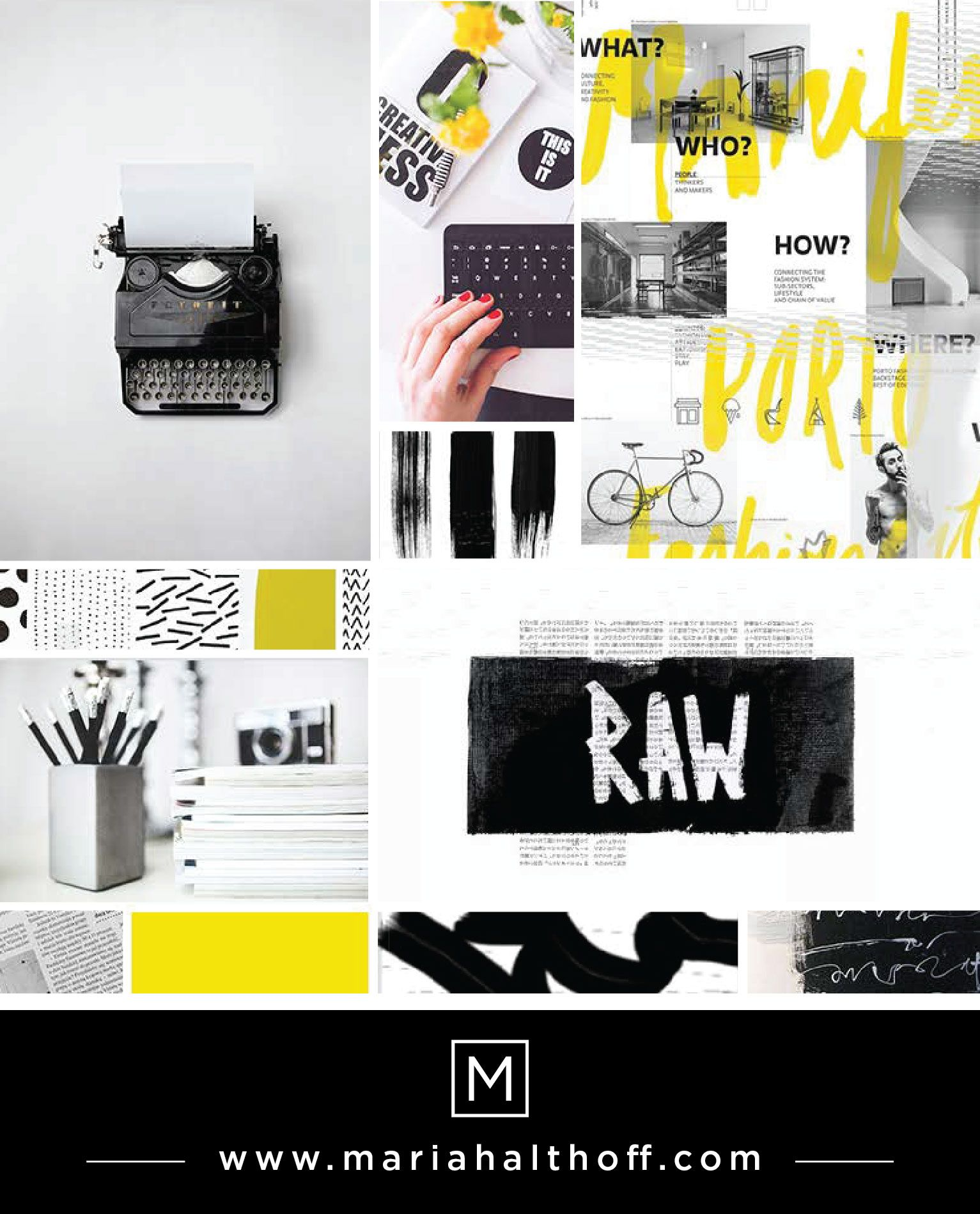Paint, messy, dynamic, scribbles, writing, black, white and yellow mood