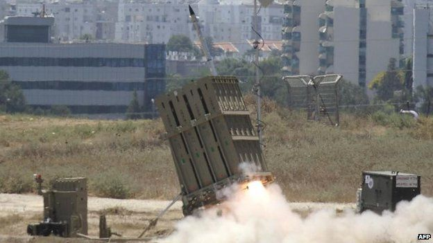 An Iron Dome missile is launched to counter rockets from Gaza, 11 July, 2014