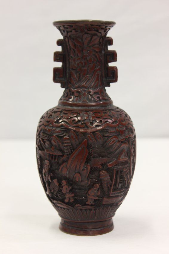 Chinese Antique Cinnabar Vase On Chinese Carved Gemstones