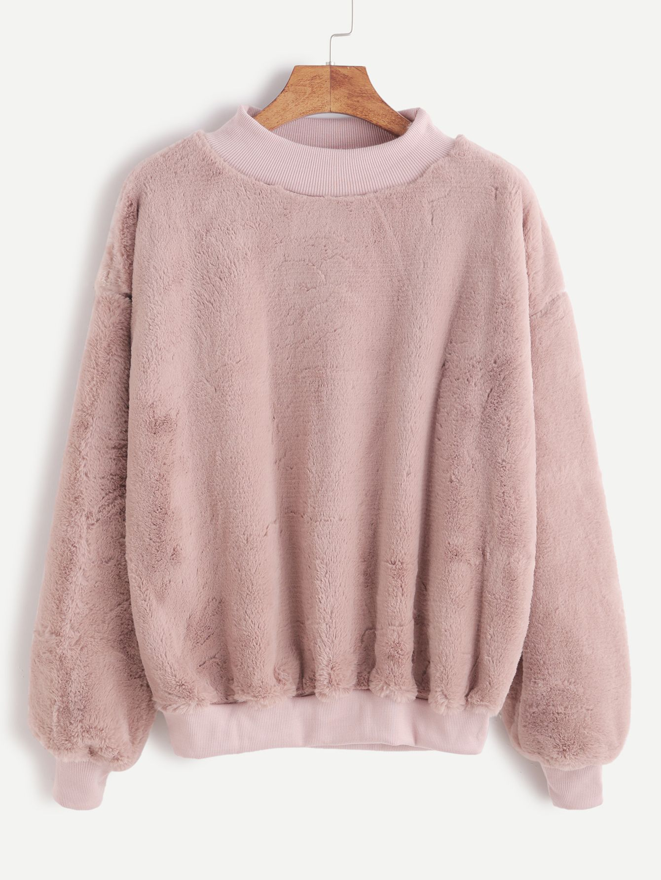Contrast Ribbed Trim Drop Shoulder Fluffy Sweatshirt | Sweatshirts ...