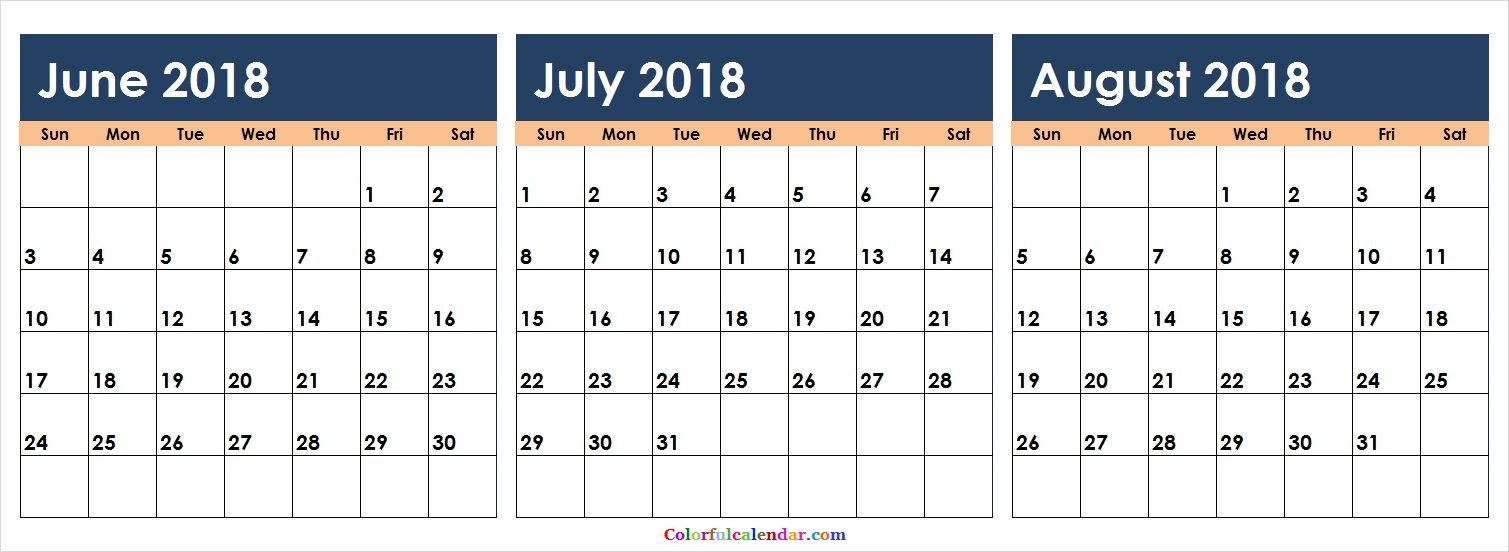 June July August 2019 Calendar Printable.Cute June July August 2018 Calendar Colorful 31 Calendar