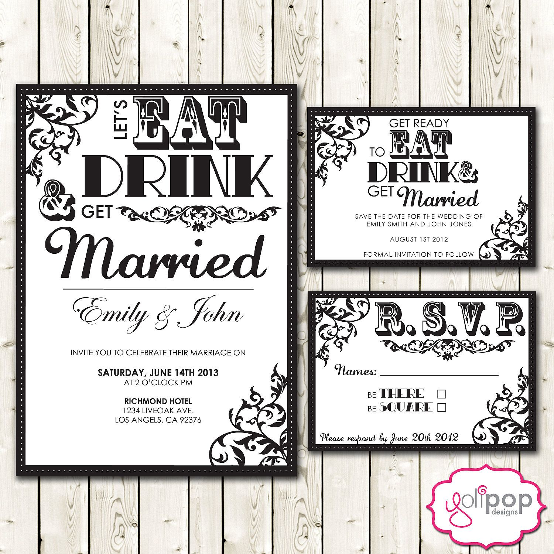 Digital Wedding Invitation Ideas: Custom (printable) Digital Wedding Invitation SET, RSVP
