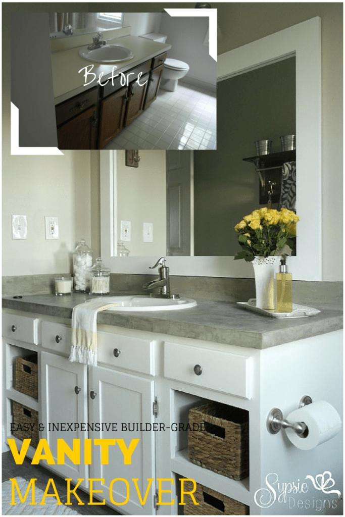 Old Builder Grade Bathroom Vanity Makeover (Plus Tutorial!) - Sypsie Designs #bathroomvanitydecor