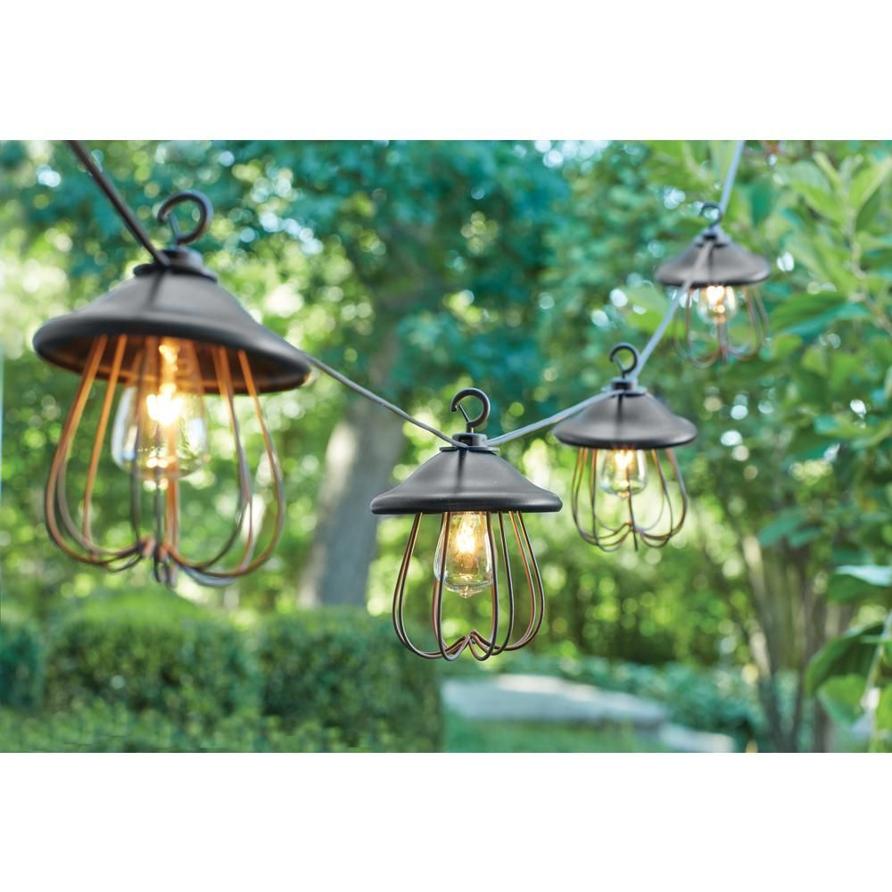 String Lights Home Depot Captivating Hampton Bay 8Light Decorative Bronzed Patio Cafe String Light Design Decoration