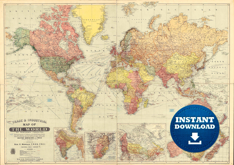 Digital Vintage Colorful World Map Printable Download Vintage World Map Poster Map Detailed World Map File In 2020 World Map Printable Old World Maps World Map