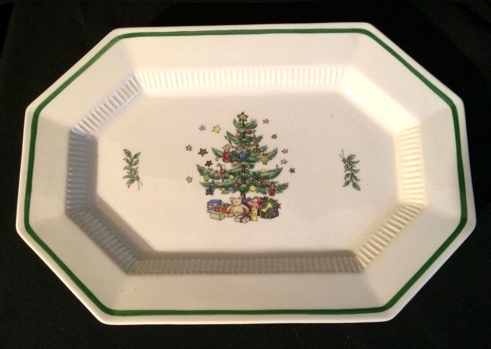 Nikko Christmastime pattern 13  octagon serving platter. The pattern is a creamy white and & Nikko Christmastime pattern 13