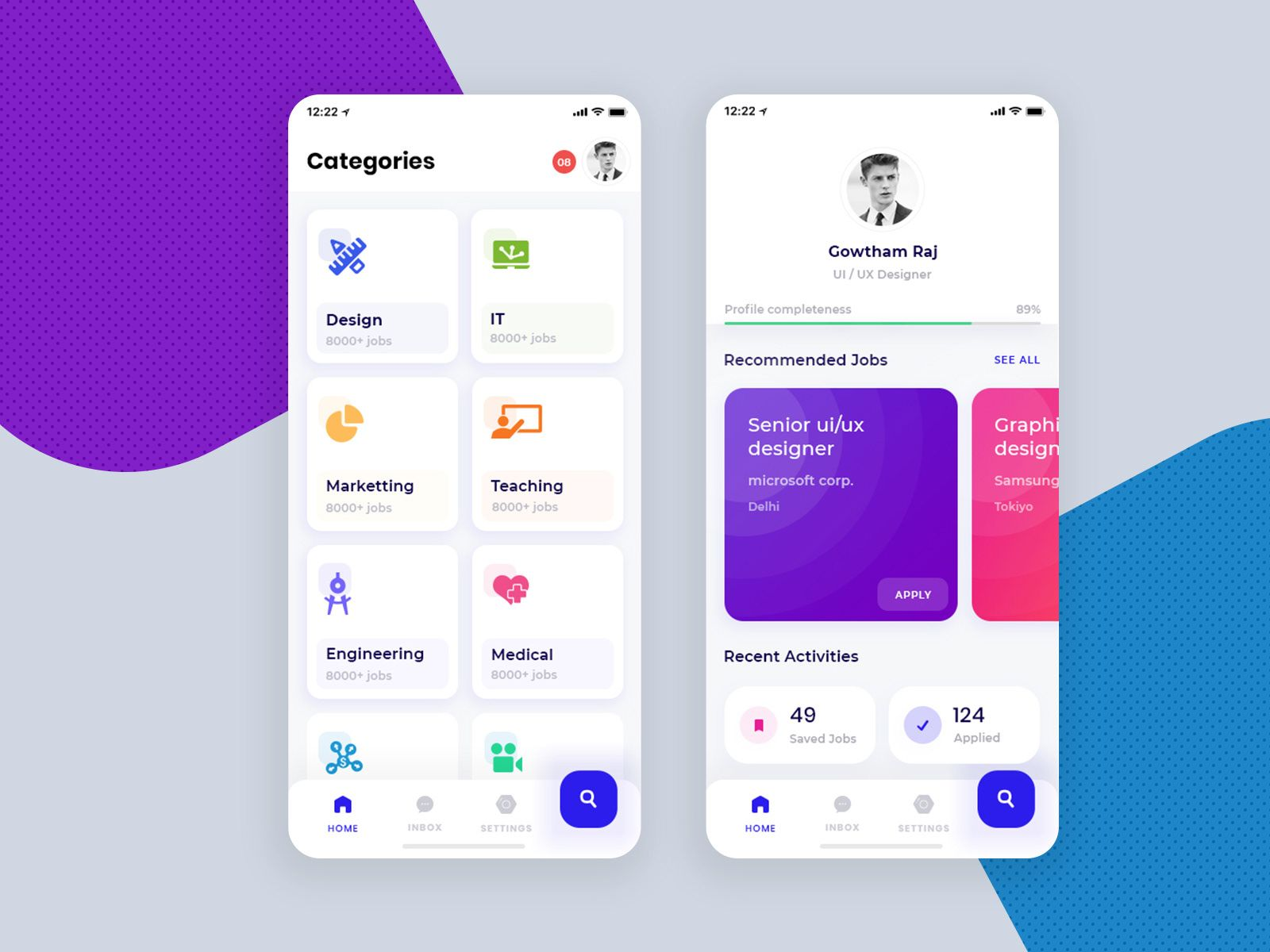 job portal app free for xd on behance | app interface design