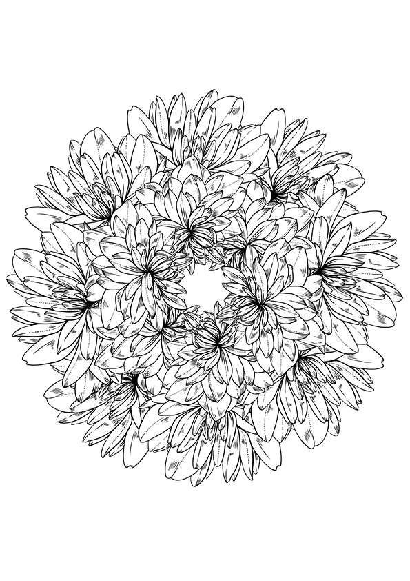Flower Wreath Coloring Page
