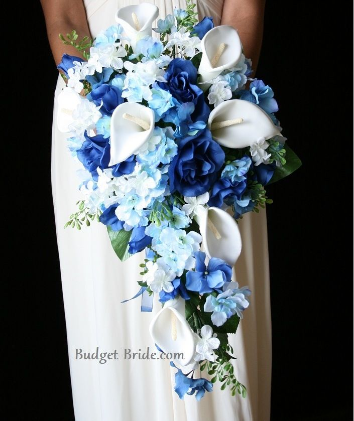 Not this shape but calla lilies and some blue flower would be nice ...