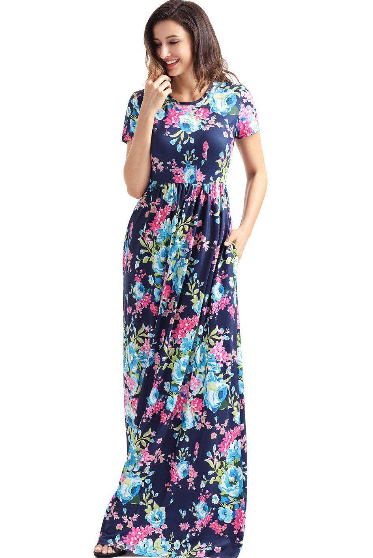 Mode Pockets Design Short Sleeve Bright Blue Floral Long Dress ...