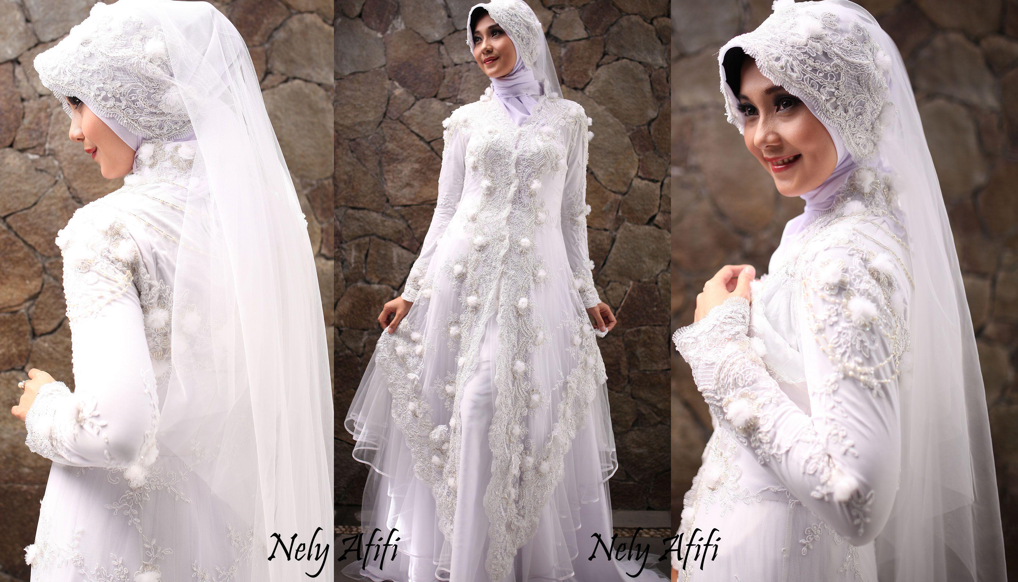 Gaun Pengantin Muslimah Kebaya Modern Brocade Putih 1