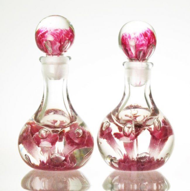 Pr. Art Glass Perfume Bottles : Lot 963