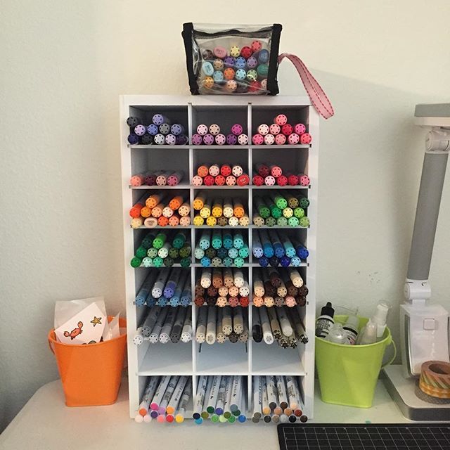 Finally Set Up My New Organizemore Marker Storage Unit For My Copic And Kuretake Zig Markers I Still Need To Finish My Pieces From Sandyallnock S Lawnfawn C Marker Storage Craft Room
