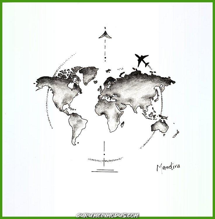 Photo of Beautiful world map globe with tattoo plane from Mandira – #