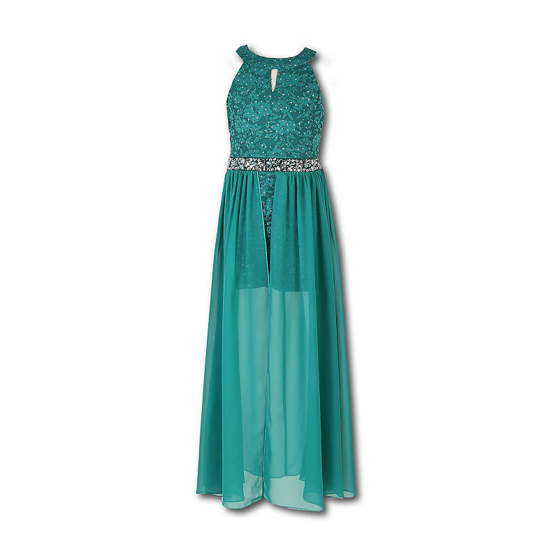 0a7f78363a5e26 Speechless Embellished Sleeveless Pattern Maxi Dress - Big Kid Girls ...