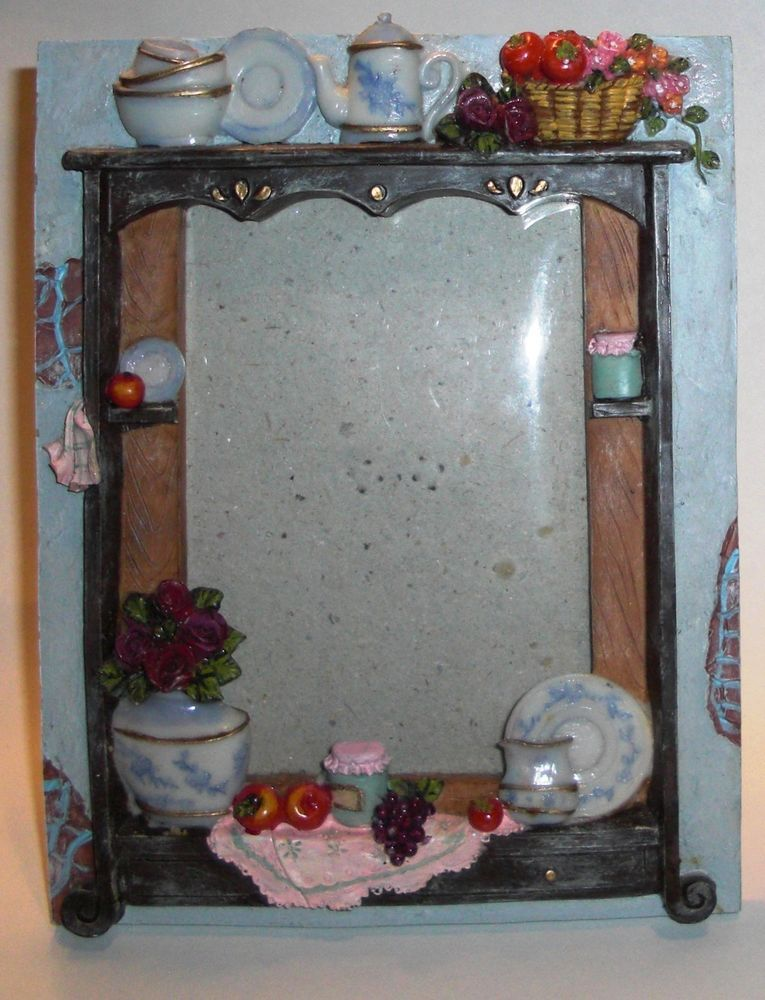 whimsical country kitchen window theme picture frame apples flowers