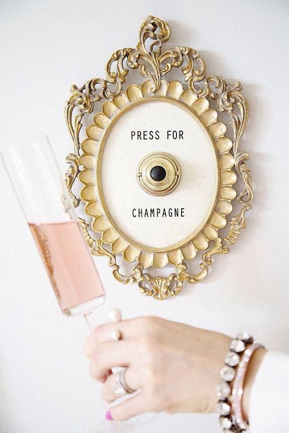 Press For Champagne Framed Vintage Button ( ringing version ...