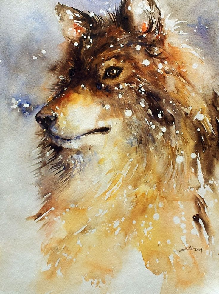 ARTFINDER: Wolfdog in Snow by Arti Chauhan - Winter is on the horizon, it makes me think of snow.This wolf dog sits in falling snow solemnly with snowflakes embedded in his fur. The portrait has been p...