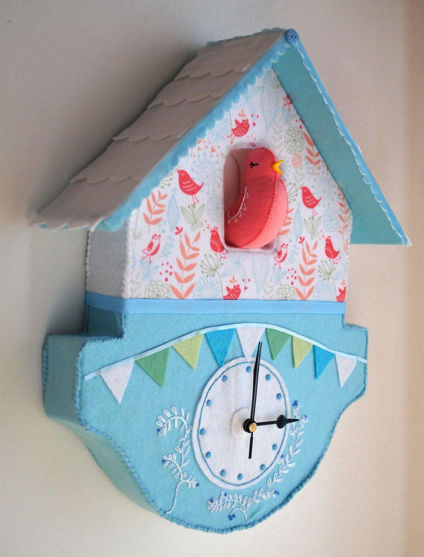 Felt birdhouse clock by bettyoctopus. €90.00, via Etsy.