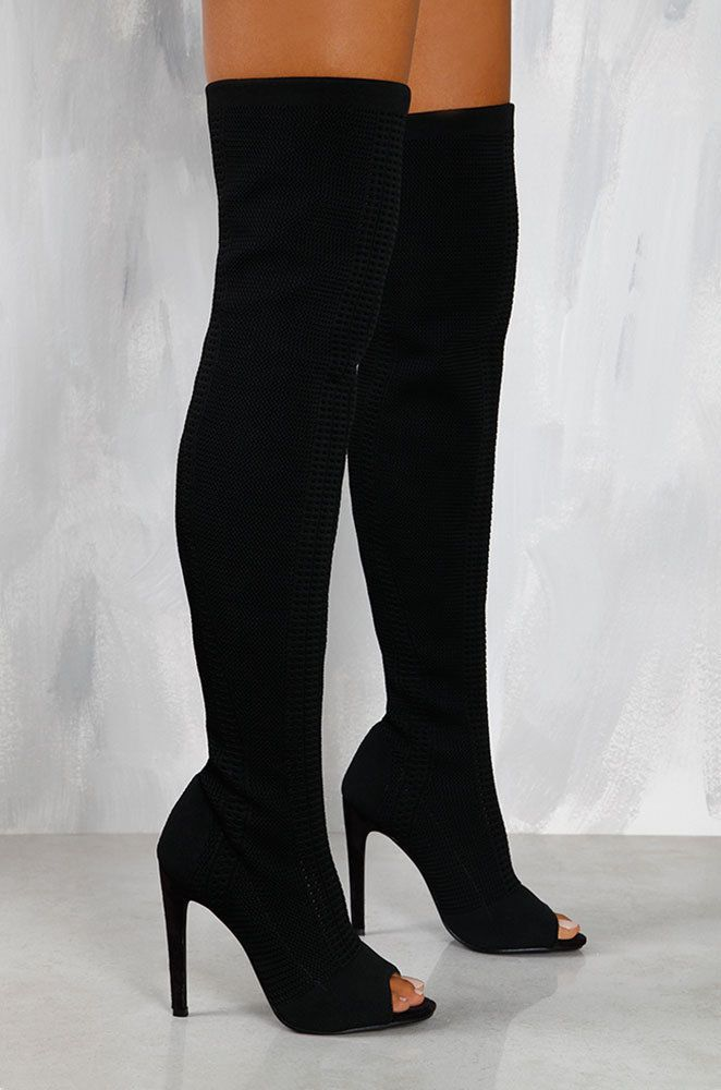 Thigh High Over Knee Stretchy Open Peep