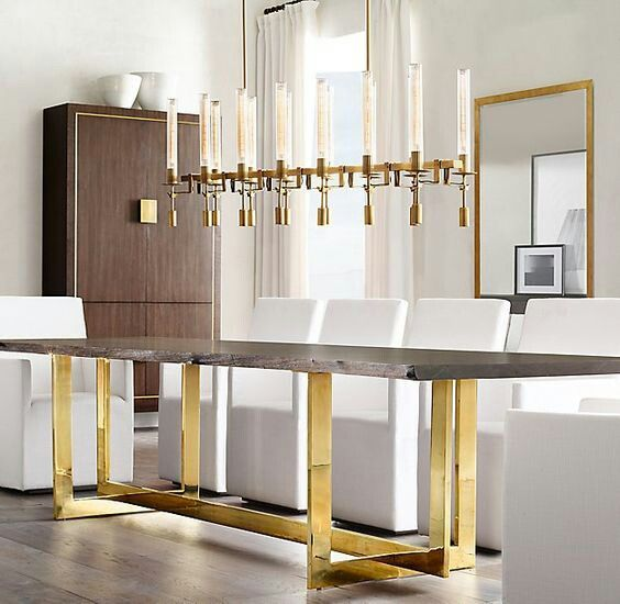 RH MODERN's Wythe Live Edge Dining Table With Brass Legs