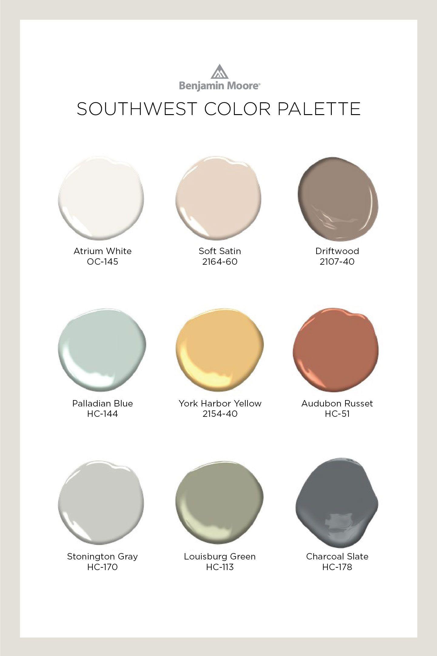 Southwest Color Palette Benjamin Moore In 2020 Paint Color Inspiration Paint Colors For Home Benjamin Moore Exterior