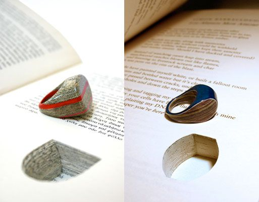 rings made from books! id like to see a ebook do that.