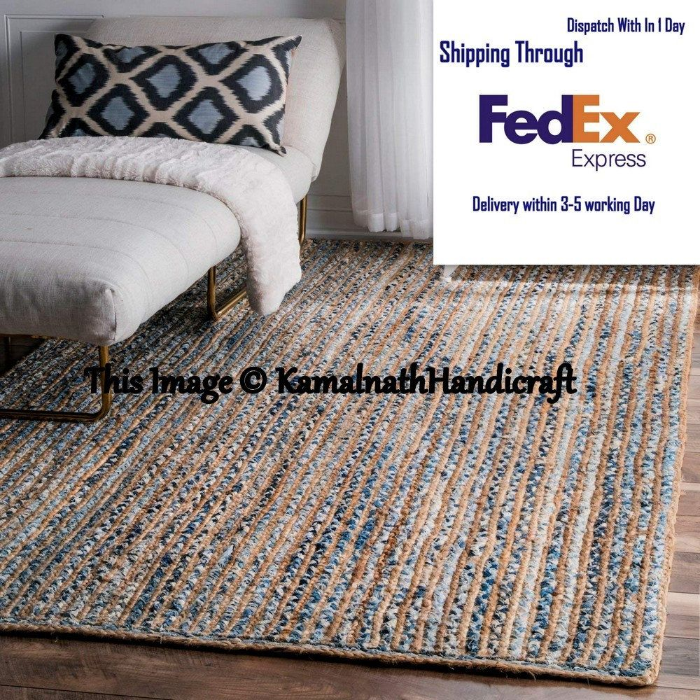Indian Hand Braided Bohemian Colourful Jute Cotton Rug Area Rug