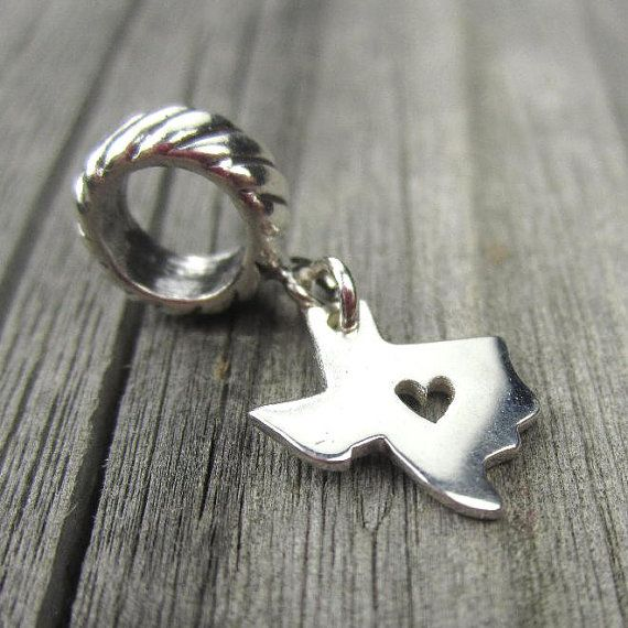 d8dbc1e21 Texas state charm in sterling silver for European bracelets, compatible  with Pandora or Trollbeads