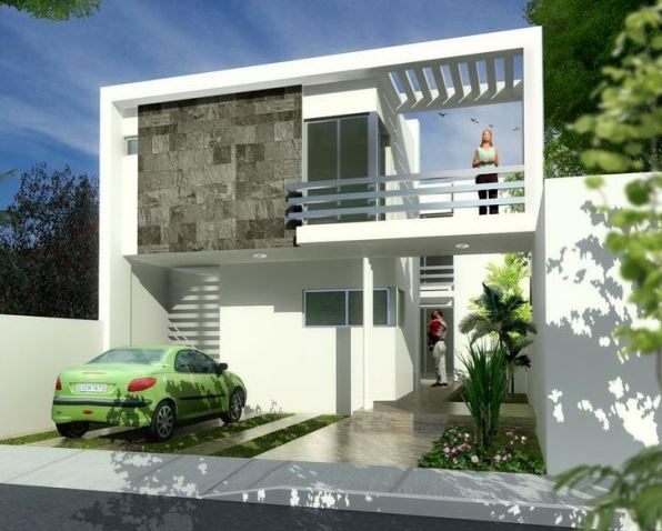 Fachadas de casas de dos pisos con cocheras abiertas