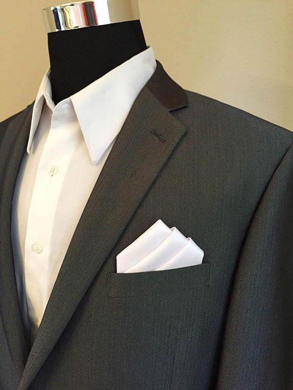 White Silk Pre folded Pocket Hanky Square