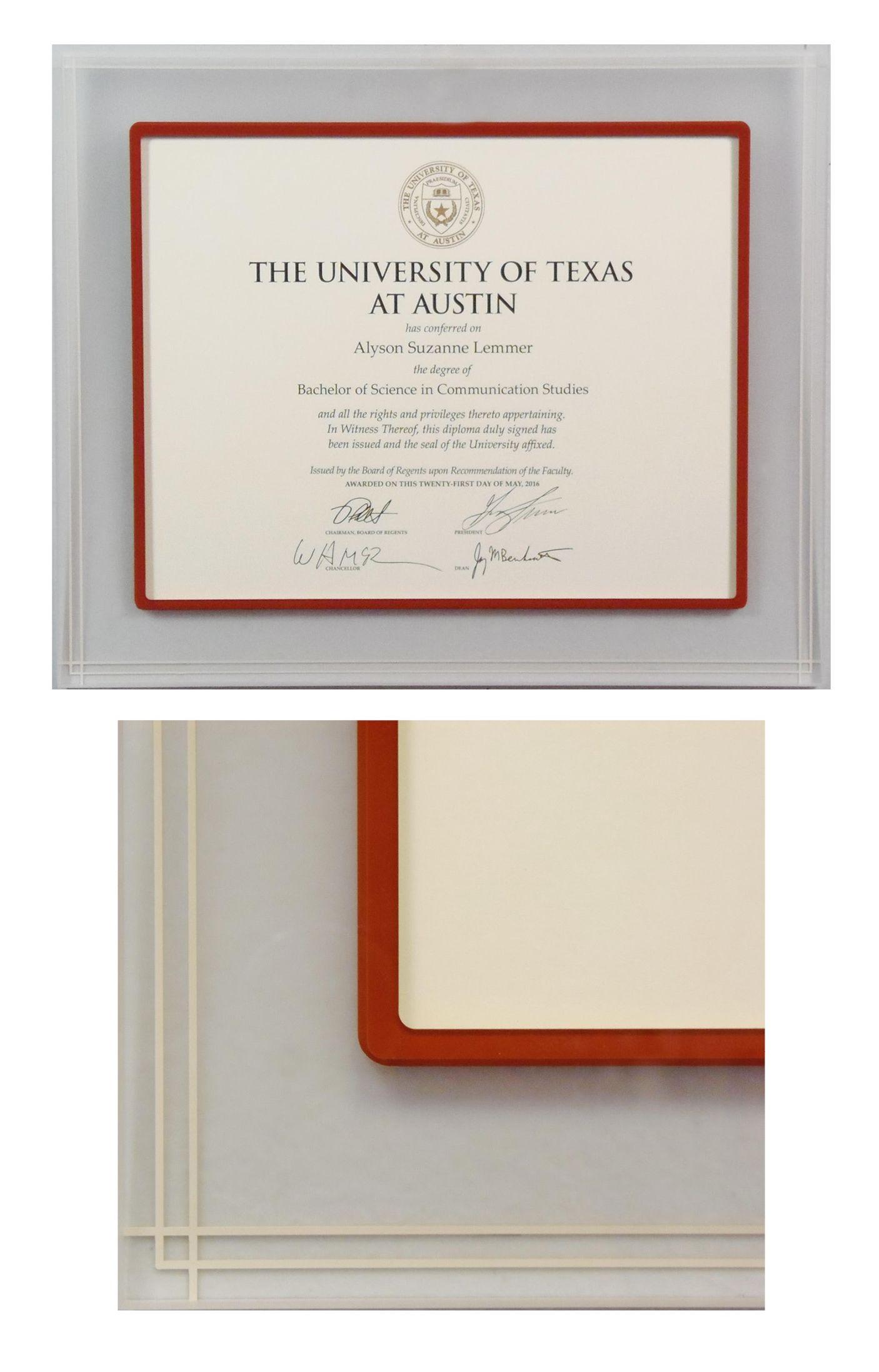 University of Texas diploma in a custom Prisma @bellamouding acrylic ...