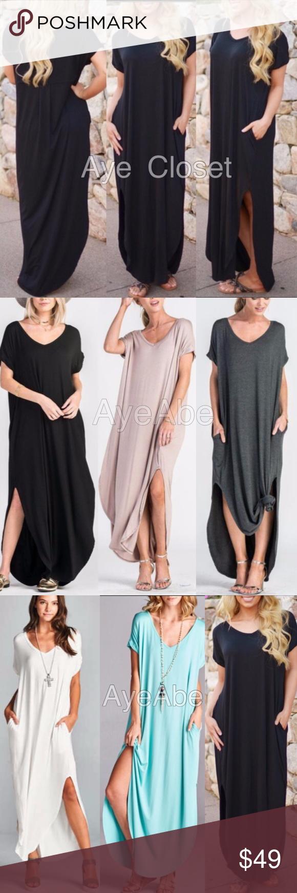 Over sized loose fit slit long maxi dress pockets boutique dresses