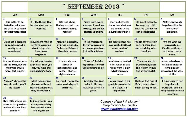 Daily thoughts: Motivational Thoughts Calendar | Monthly