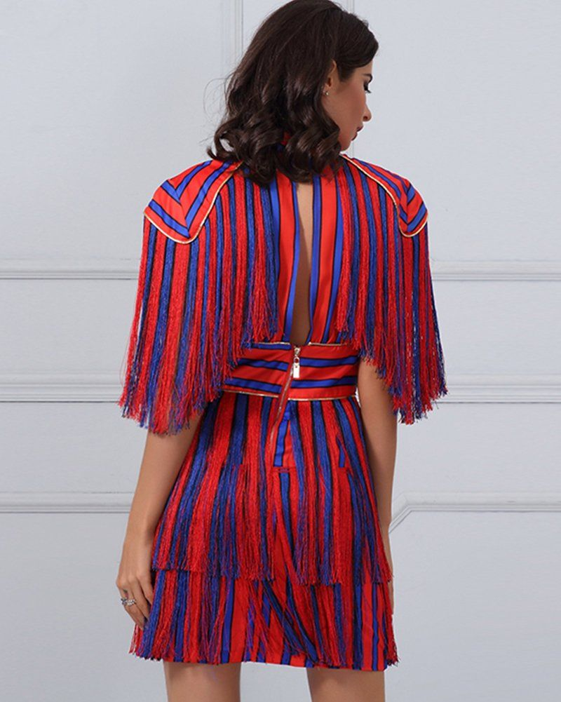 Uonbox Womens Short Sleeves Red And Blue Striped Tassel Fringe Celebrity Dress Xs Red Click On The Image For Ad Celebrity Dresses Dresses Bodycon Mini Dress [ 1001 x 800 Pixel ]