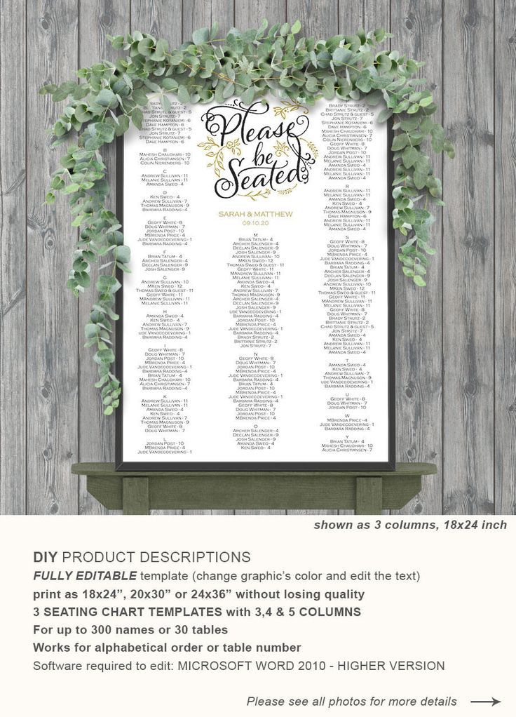wedding seating chart, template, seating chart poster, alphabetical
