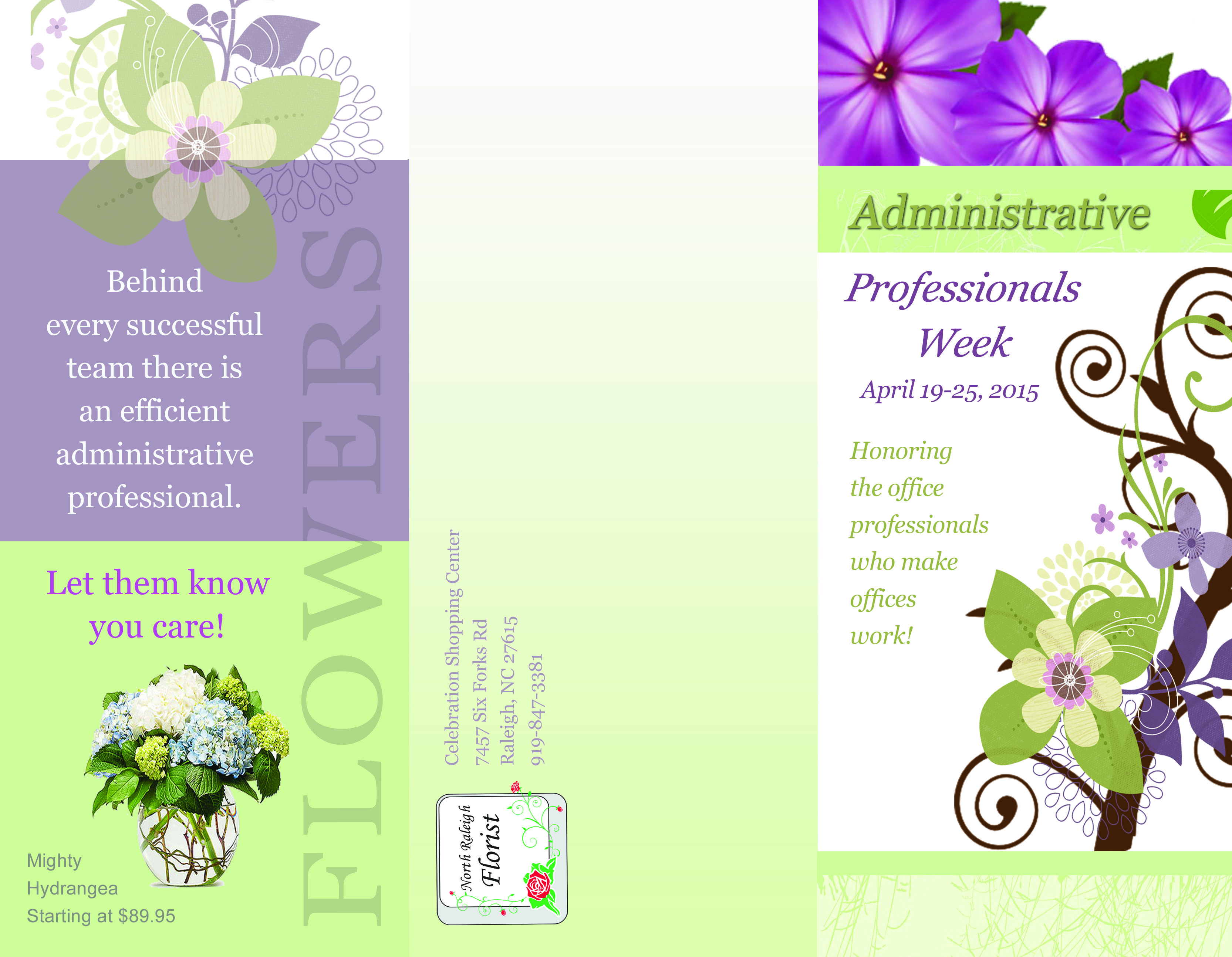 outside brochure design for north raleigh florist va business
