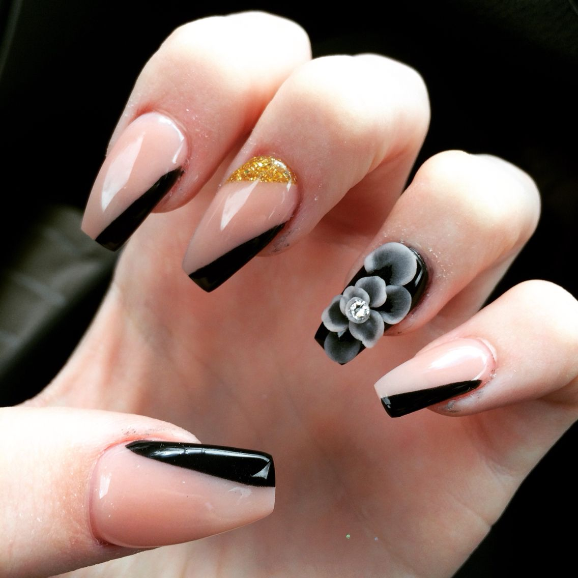 New acrylic nails. Flower design. Nude color. Black. | Fashion ...