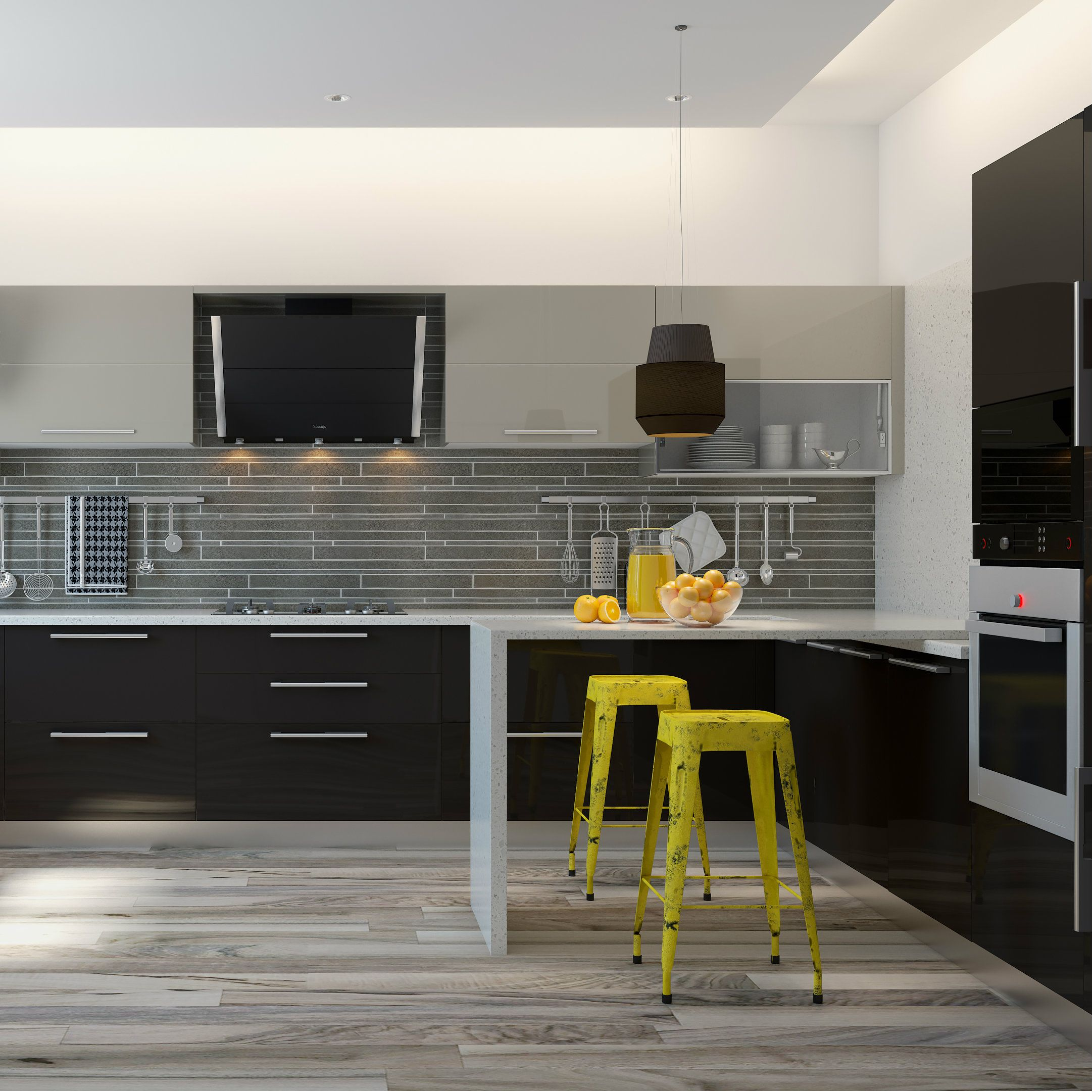 A stylish kitchen design with glossy finish, built in appliances and ...