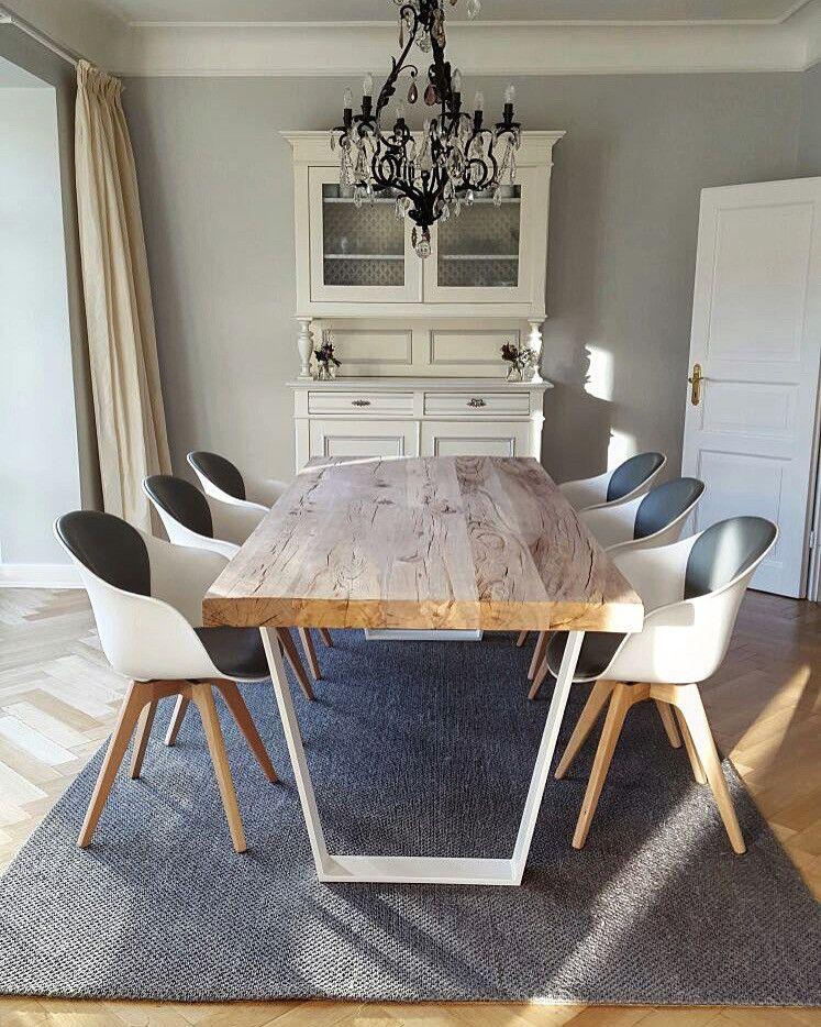 Betontisch Esstisch modern massiv Holz auf Beton nach Ma  HolzwerkHamburg  Wohnzimmer in
